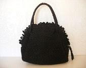 30s-40s crochet purse - sack bag. Loom-crocheted purse in black. Doctor's bag-sack, original metal zipper