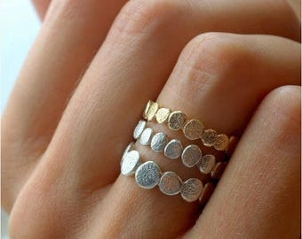40% Off Gold and Silver Pebble Ring Set   Stacking Ring Set   Stackable Ring  Natural Inspired