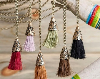 40% Off Bronze Long Pinecone Tassel Necklace   Colored Tassel Necklace  Nature Inspired Jewelry