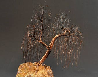 Weeping willow  Copper wire tree sculpture -  2309  - FREE SHIPPING
