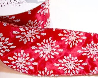 Christmas Ribbon, Lion Brand Springle Wired Fabric Ribbon 4 inches wide x 10 yards, Red Glitter Snowflakes