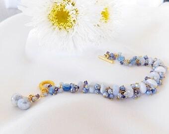 Blue Bracelet - Chalcedony Bracelet - Iolite Bracelet - Kyanite Bracelet - Statement Bracelet - Wedding Jewelry