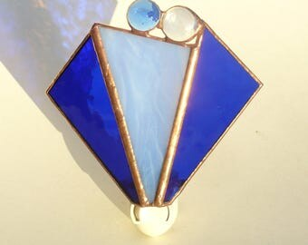 Night Light, Stained Glass Night Light, Cobalt Blue with Glass Nuggets - Nut and Bolt Fastening
