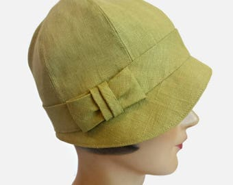 Cloche Hat with Bow in Chartreuse Linen - 1920s Style Cloche Hat - Linen Cloche