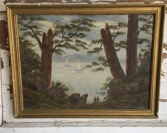 Antique Oil Painting - Boats on the Lake Framed Gesso Frame