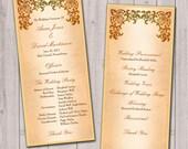 Medieval wedding program, traditional wedding ceremony, gold and brown wedding, castle wedding, set of 25