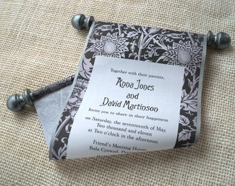 Black and White Medieval Wedding Invitation Scroll {SAMPLE}