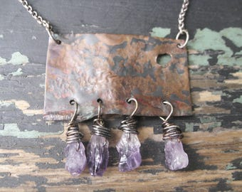 Destination -  Minimalist Copper Gemstone Necklace Hand Forged Reticulated Copper Rough Amethyst Dangles Jane Plain Organic Roots Jewelry