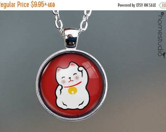 ON SALE - Lucky Cat (RED) : Glass Dome Necklace, Pendant or Keychain Key Ring. Gift Present metal round art photo jewelry by HomeStudio