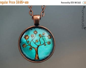ON SALE - Copper Tree : Glass Dome Necklace, Pendant or Keychain Key Ring. Gift Present metal round art photo jewelry by HomeStudio