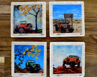 Fine Art Coasters, set of 4 Jeeps, drink coaster, stone, jeep, willys, CJ, distressed, car, truck, present, gift, man, fathers day