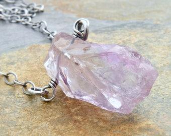 Rustic Amethyst Necklace, Hammer Faceted Amethyst Gemstone Pendant, Sterling Silver, Purple, February Birthstone, Boho Minimalist, #4817