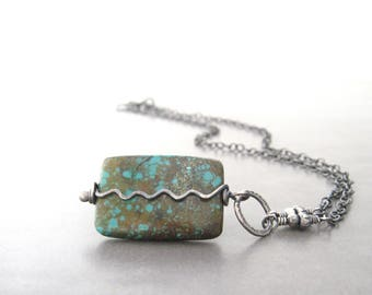 turquoise and silver necklace, boho oxidized stone pendant, rustic pendant, silver jewelry