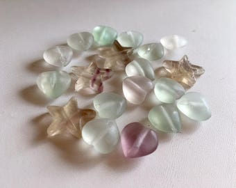 Fluorite Gemstone Beads-Heart & Star Beads-Loose Fluorite Beads