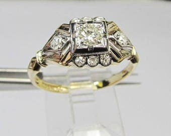 Vintage 14Kt Two-tone Gold and Diamond Engagement Ring