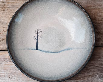 Black Ceramic Tree Serving Bowl