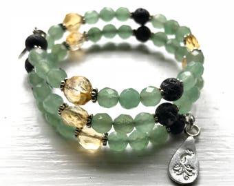 Citrine and Sparkling Aventurine Essential Oil Diffuser Gemstone Fully Adjustable Bracelet w/ Sample Essential Oil Aromatherapy Blend