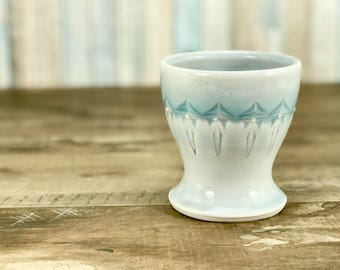 Small porcelain cup.  Bathroom water cup.  Blue ombre glazed cup.  Light blue bathroom accessories.  Blue bathroom set.  Ceramic tumbler.