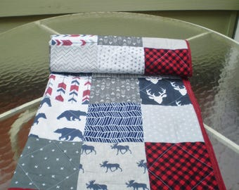Handmade Baby quilt, Baby quilt, crib quilt, baby boy girl bedding quilt, woodland, arrow, grey, navy, red, moose, deer, bear, Rustic in red