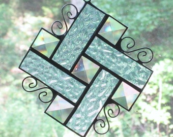 Stained Glass Suncatcher - Bevels with Light Blue Border and Curly Cue Wire