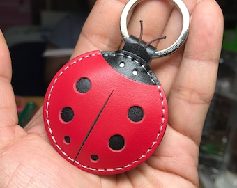 Small size - Penny the ladybug cowhide leather keychain ( Red / black)