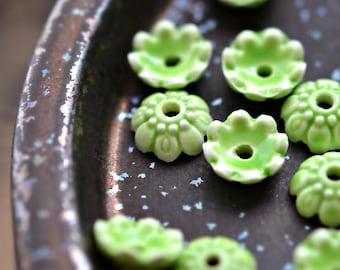 NEW! Apple Tree - Porcelain, Ceramic Bead Caps, Light Green, Flower Shaped Spacer 10x4mm - Pc 10