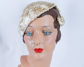 Vintage 1950s Hat Ivory Silk Cord and Rhinestone Asymmetrical Cocktail Hat
