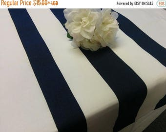 """ON SALE NAVY  Striped Runner  Stripes are 2.75"""" wide Navy blue striped Runners 48- 108"""" Nautical Beach Wedding Bridal"""
