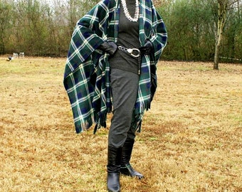 Plaid Anti Pill Fleece Wrap, Poncho, Blanket Scarf, or Shawl with Fringe--Classic London Navy Plaid--Lightweight Warmth--One Size Fits Most
