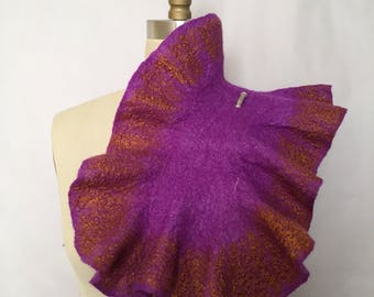 Purple Felted Scarf / Wavy Felted Collar / Purple Felted Neckwarmer / Fiber Art / OOAK / SALE / Lichens Collection
