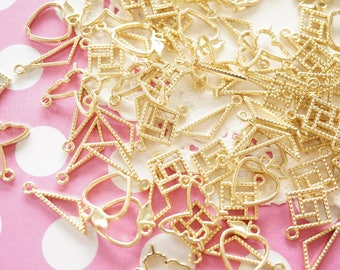 Assorted 20 pcs Open Bezel Charm / Square Triangle Apple Butterfly (7-17mm) AZ602