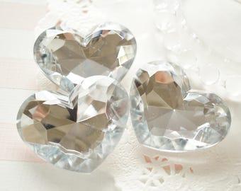 SALE 3 pcs High Quality Big 3D Heart Rhinestones/Gems (35mm42mm) Clear