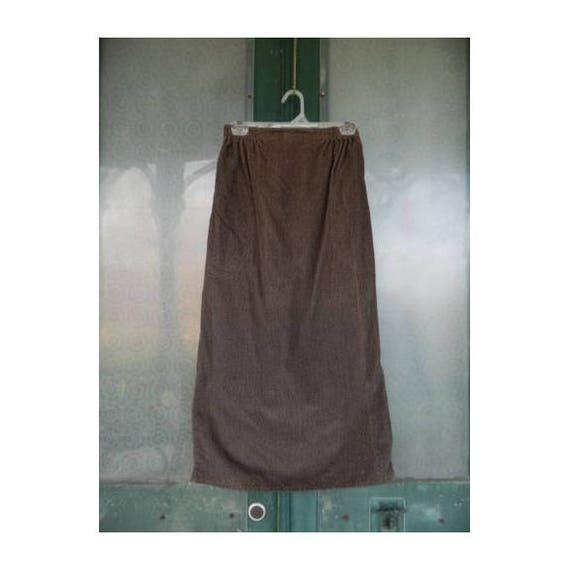 FLAX Engelhart Fall 1997 Simple Skirt -S- Brown/Black Fleck Cotton Corduroy