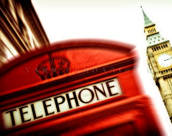 London photography, Red wall decor, telephone booth, Red Phone Box, London photography, England, British, Travel decor
