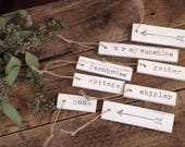 Set of 8 Shabby White Wooden Tags