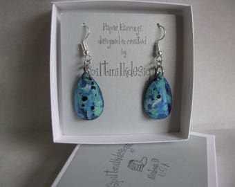 Earrings-Paper Earrings-Recycled Greeting Card-Teardrop-Mottled Design-Blue/Teal-Hypoallergenic Stainless Steel-Dangle Earrings-Handmade