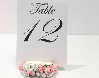 15% off ends at 5pm Flower Table Number Holders + Floral Wedding Table Number Holders (Set of 5)