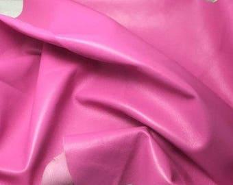 "BUBBLEGUM PINK Supple Lambskin Leather Hide Piece #5 5x10"""