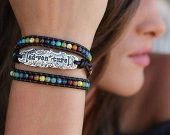 Hippie Jewelry, Triple Wrap Hippie Bracelet, Leather Hippie Bracelet, Modern Hippie Leather Wrap Bracelet, Triple Wrap Bohemian Bracelet