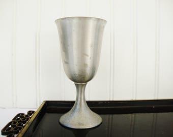 vintage pewter water goblet poole metal wine chalice renn faire