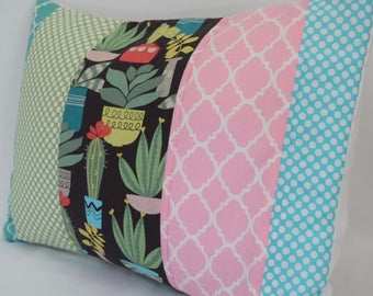 Succulent Quilted Pillow Cover 12x16 Inches -  Cactus, Greenery, Rose Pink, Turquoise, Living Room, Nursery