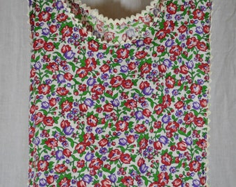 Vintage Full Apron 1 Pocket - Red Green and Purple Gingham Flowers on a White Background - White Rick Rack Trim  - All Cotton - New