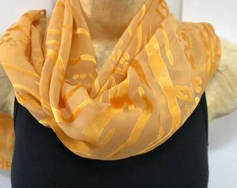 Silk and Rayon Devore Scarf, hand dyed, Peach over Yellow