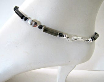 Boho Anklet, Silver Leaf Jasper Anklet,  Foot Jewelry, Beaded Ankle Bracelet, Browns, Body Jewelry, Gemstone , MInimalist, Bohemian, #1265