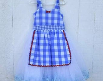 Dorothy Costume, Wizard of Oz dress, Dorothy dress, blue gingham dress, girls costume, size 6/6X
