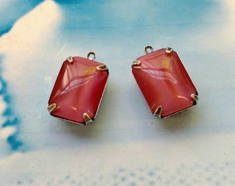 Vintage CZECH Jewels Faceted Rose Pink Opal Glass Stones In a Open Back Silver Ox Prong Setting 440SOX x2