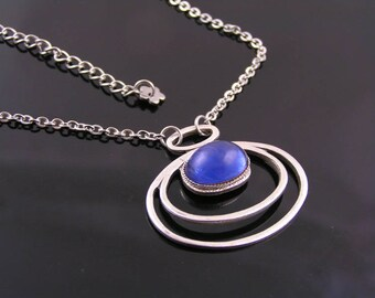Art Deco Style Necklace, Czech Glass Necklace, Art Deco Jewelry, Art Deco Necklace, Blue and Silver Necklace, N1248