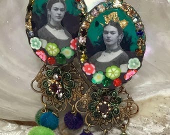 Lilygrace Frida Blue Cameo Earrings with Vintage Rhinestones, Turquoise and Velvet Pompom Beads