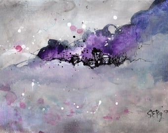 Ink abstract painting on canvas A4 -   dreamy cloud landscape - violet cloud city