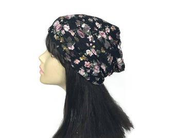 Boho Black Lace Slouch Hat Custom Size Black Floral Beanie Black Lace Flowered Hat Summer Slouch Hat Summer Lace Hat Summer Lace Beanie